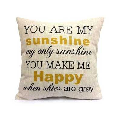 HOSL You Are My Sunshine Cotton Linen Pillow Cover, 17.3 x 17.3-Inch-No insert - Amazon