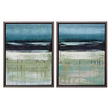 Sky And Sea 2 - Set of 2 - 9''W x 2.5''D x 25''H - Framed - Z Gallerie