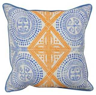 "Global 20"" x 20"" Cotton Pillow, Blue-feather insert - One Kings Lane"