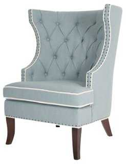 Amelia Wingback Chair, Breeze - One Kings Lane