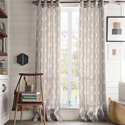 "Ikat Ogee Linen Curtain - Ivory/Platinum; 84"" - West Elm"