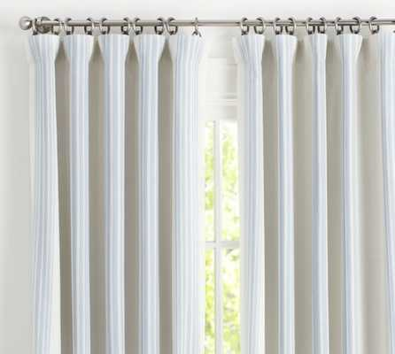 "Riviera Stripe Drape - PORCELAIN BLUE - 108"" - Pottery Barn"