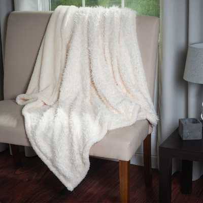 Lavish Home Soft Plush Long Haired Fleece Throw with Colored Sherpa Backing - Overstock