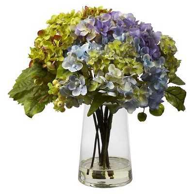 Nearly Natural Hydrangea w/ Glass Vase Arrangement - Target