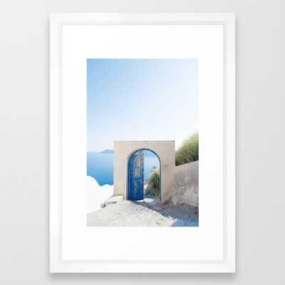 "Santorini Door - 15"" x 21"" - Vector White Frame - Society6"