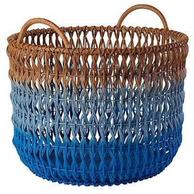 Fade Up Rattan Floor Basket (Blue) - Land of Nod