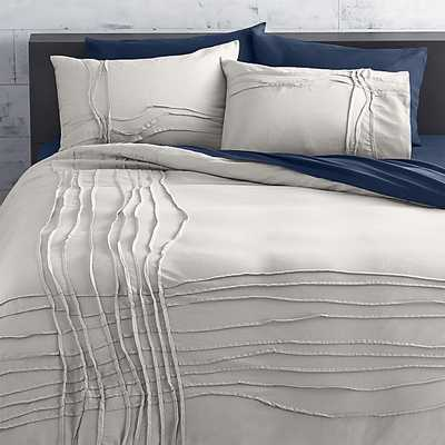 twisted silver grey full/queen duvet - CB2