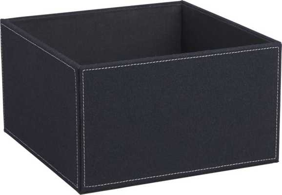 navy felt open storage box - CB2