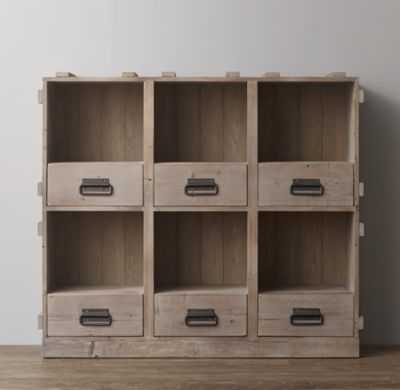 vintage wood crate wide bookcase - RH