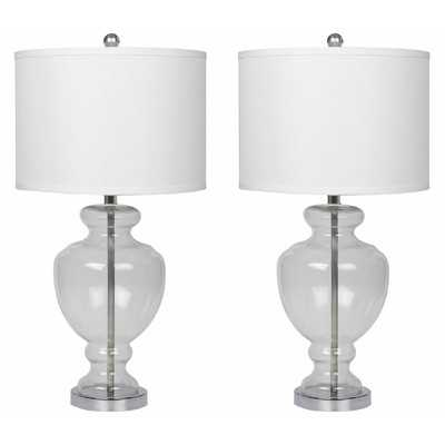 """Crystal 28"""" H Table Lamp with Drum Shade - Wayfair"""