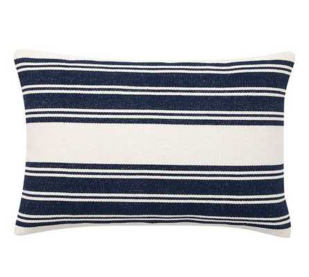 Awning Stripe Dhurrie Lumbar Pillow Cover - 20x30, Navy, No Insert - Pottery Barn