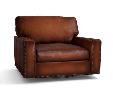 Turner Square Arm Leather Swivel Armchair with Nailheads-Leather, Saddle - Pottery Barn