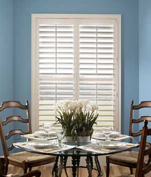 Fauxwood Plantation Shutter - Double Panel - Shades Shutters Blinds
