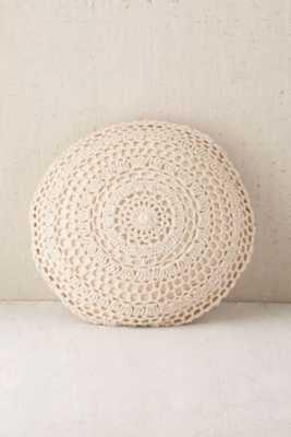 "Plum & Bow Primrose Round Crochet Pillow -16"" x 16""-Polyfill - Urban Outfitters"