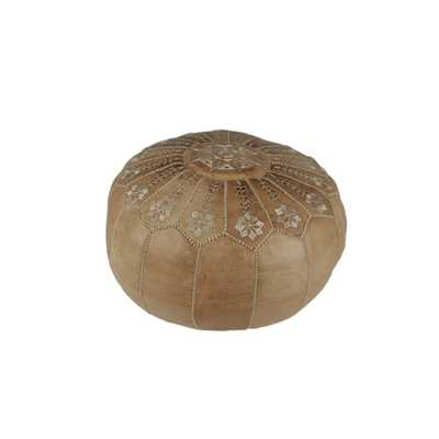 Moroccan Leather Embroidered Pouf Ottoman  - Natural - AllModern