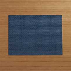 Chilewich ® Purl Blue Vinyl Placemat and Fete Blue Cotton Napkin - Crate and Barrel