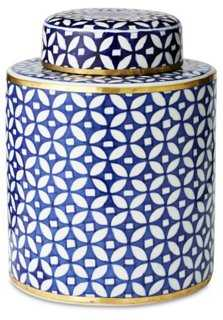 "9"" Geometric Canister, Blue - One Kings Lane"