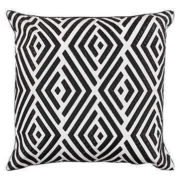 "Maestro Pillow 24""- White/black-Feather/Down insert - Z Gallerie"