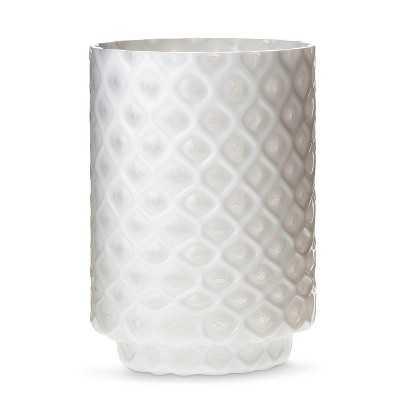 "Thresholdâ""¢ Medium White Patterned Glass Hurricane Candle Holder - Target"