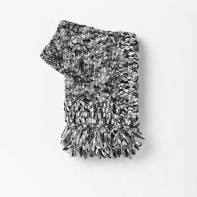 Looped Tassel Throw-Black/Gray - West Elm