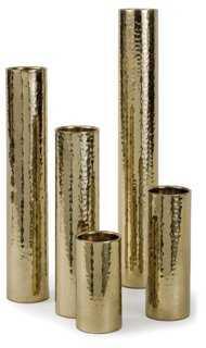 Asst. of 5 Hammered Bud Vases, Gold-Set of 5 - One Kings Lane
