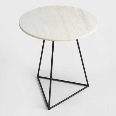 White Marble and Metal Round Accent Table - World Market/Cost Plus