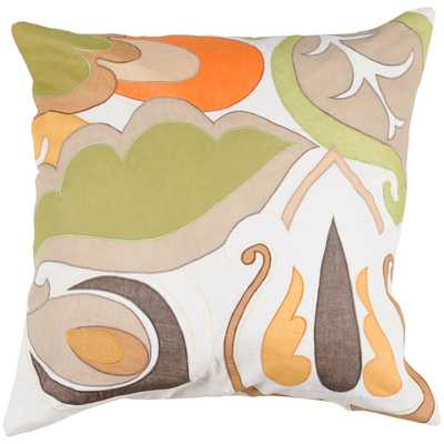 Surya Retro Floral 22 x 22 Pillow w/ Down Fill - Bellacor