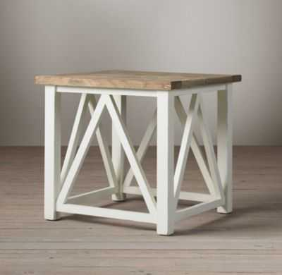 Parquet X-Brace Side Table - RH