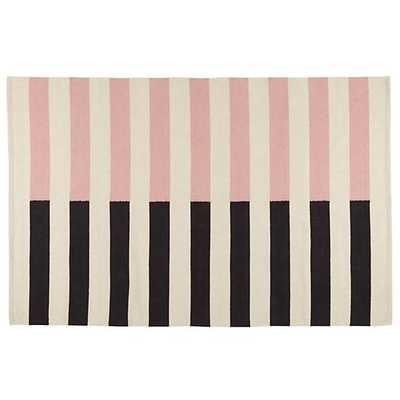 Half Stripe Rug (Pink) - 5'x8' - Land of Nod