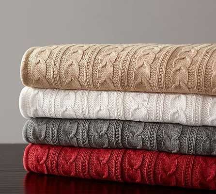 COZY CABLE KNIT THROW -IVORY - Pottery Barn