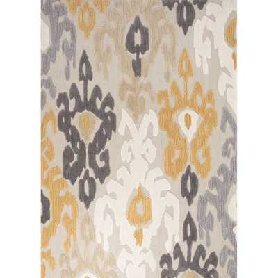 Contemporary Damask Pattern Polyester Area Rug - Overstock