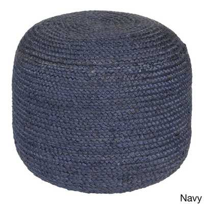 Jute Solid-Colored Pouf - Navy - Overstock
