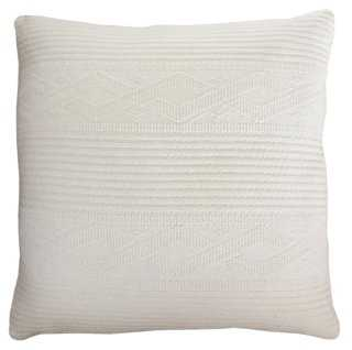 Cable Knit 24x24 Pillow, Ivory - Feather/down insert - One Kings Lane