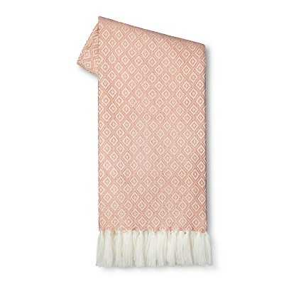 "Thresholdâ""¢ Metallic Geo Sweater Knit Throw - Pink - Target"