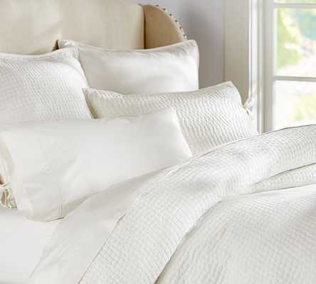 PICK-STITCH WHOLECLOTH QUILT, KING/CAL. KING, WHITE - Pottery Barn
