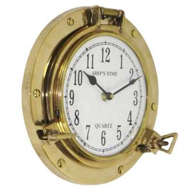 "8.5"" Aged Brass Porthole Wall Clockby EC World Imports - Wayfair"