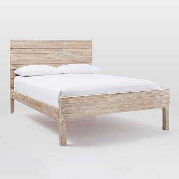 Stria Bed Frame - Queen, Cerused White - Domino