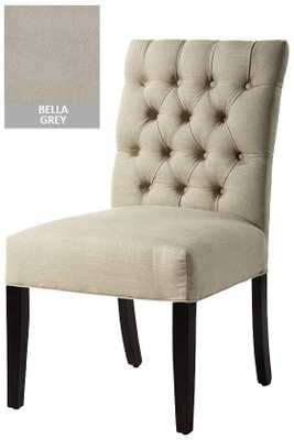 CUSTOM BUTTON-TUFTED SIDE CHAIR - Espresso; Bella grey - Home Decorators