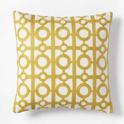"Crewel Circle Lattice Pillow Cover - Citrus Yellow - 18""sq. - Insert Sold Separately - West Elm"