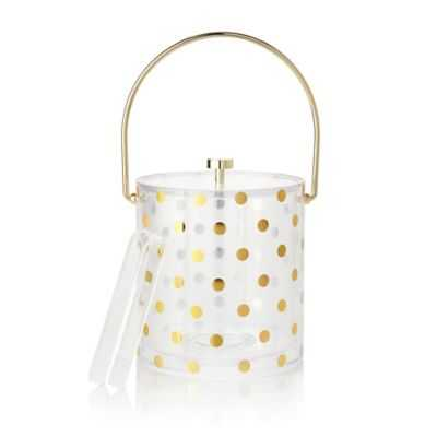 kate spade new york Raise a Glass 2-Piece Acrylic Ice Bucket and Tong Set in Gold Dots - Bed Bath & Beyond