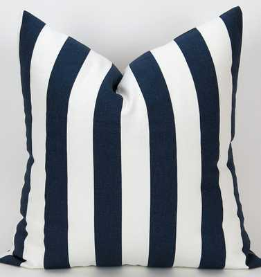 Navy Stripe Pillow Cover, Floor Pillow, Euro Sham, Nautical, Bold Navy Blue & White Canopy by Premie - Etsy