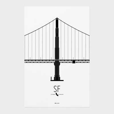 "San Francisco Icon City - Golden Gate Bridge-11""x17""-Unframed - Etsy"
