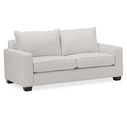 "PB Comfort Square Arm Upholsterd Sofa-Sofa 77""-Organic Cotton Twill, Gray-Knife Edge-Polyester - Pottery Barn"