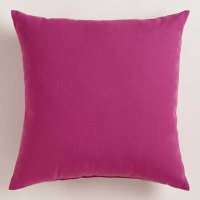 """Fuchsia Outdoor Throw Pillow - 18""""Sq. - Polyester filling - World Market/Cost Plus"""
