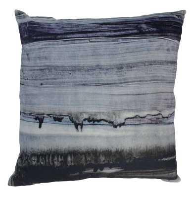 Parallel Lines Velvet Cushion W/Feather Insert - Domino
