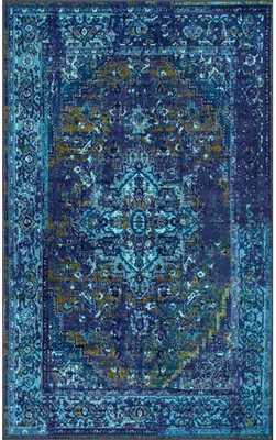 Ashlina Printed Persian Overdyed Vintage Rug - 8' x 10' - Blue - Rugs USA