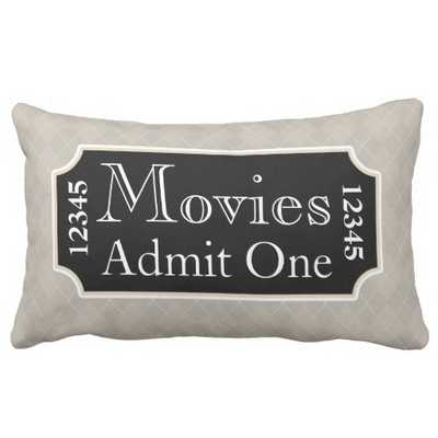"""Movies Ticket Cinema Pillow - 13"""" x 21"""" - Synthetic-filled insert included - zazzle.com"""