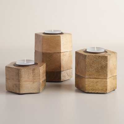 Hexagon Wood and Antique Brass Tealight holder- Small - World Market/Cost Plus