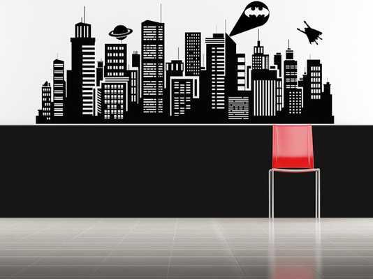 Superhero Wall Art, Batman Decal - black - Etsy