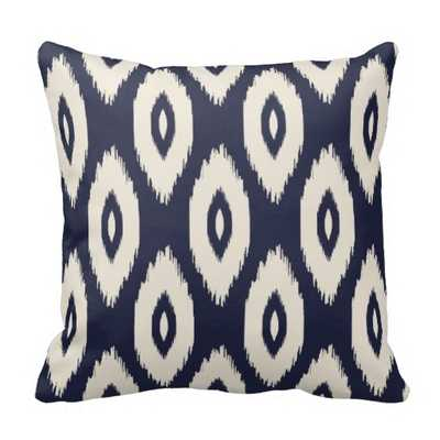 """Navy Blue and Ivory Tribal Ikat Dots Pillow - 16"""" x 16"""". - Synthetic Insert - zazzle.com"""